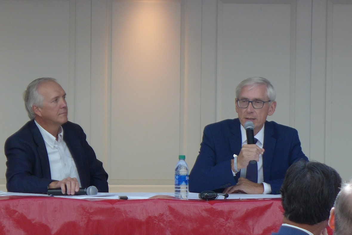 Gov. Tony Evers discussed the upcoming democratic convention in Milwaukee at a WisPolitics event Sept. 24, 2019. But the democratic governor refused to weigh in on impeachment of President Donald Trump, saying he was focused on the state. Photo by Shamane Mills/WPR.