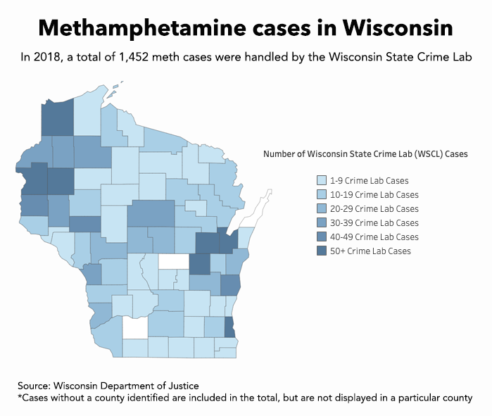 Methamphetamine cases in Wisconsin