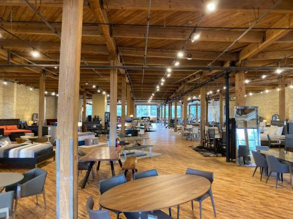 Bachman Furniture's new showroom, featuring lighting from BBC Lighting. Photo courtesy of the Menomonee Valley Partners.