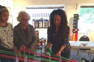 Erika Diamond, a Jazz Gallery Center past residency artist, works with gallery visitors during Art Walk 2016. Photo courtesy of the Riverwest Artists Association.