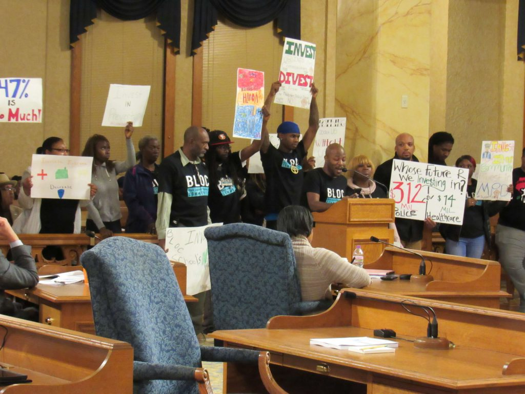 Community members and activists at the budget meeting. Photo by Isiah Holmes/Wisconsin Examiner.