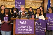 State Sen. Janis Ringhand speaks to why she is introducing the Family and Medical Leave Insurance Act, a new bill that would create a pool of employees in Wisconsin to provide paid leave for employees. Photo by Melanie Conklin/Wisconsin Examiner.