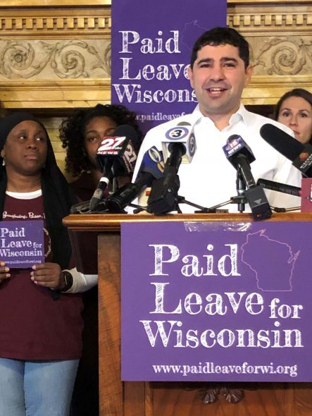 Scott Resnick, COO of Hardin Designs and EiR at StartingBlock speaks to why tech firms need paid family leave to lure employees to Wisconsin. Photo by Melanie Conklin/Wisconsin Examiner.