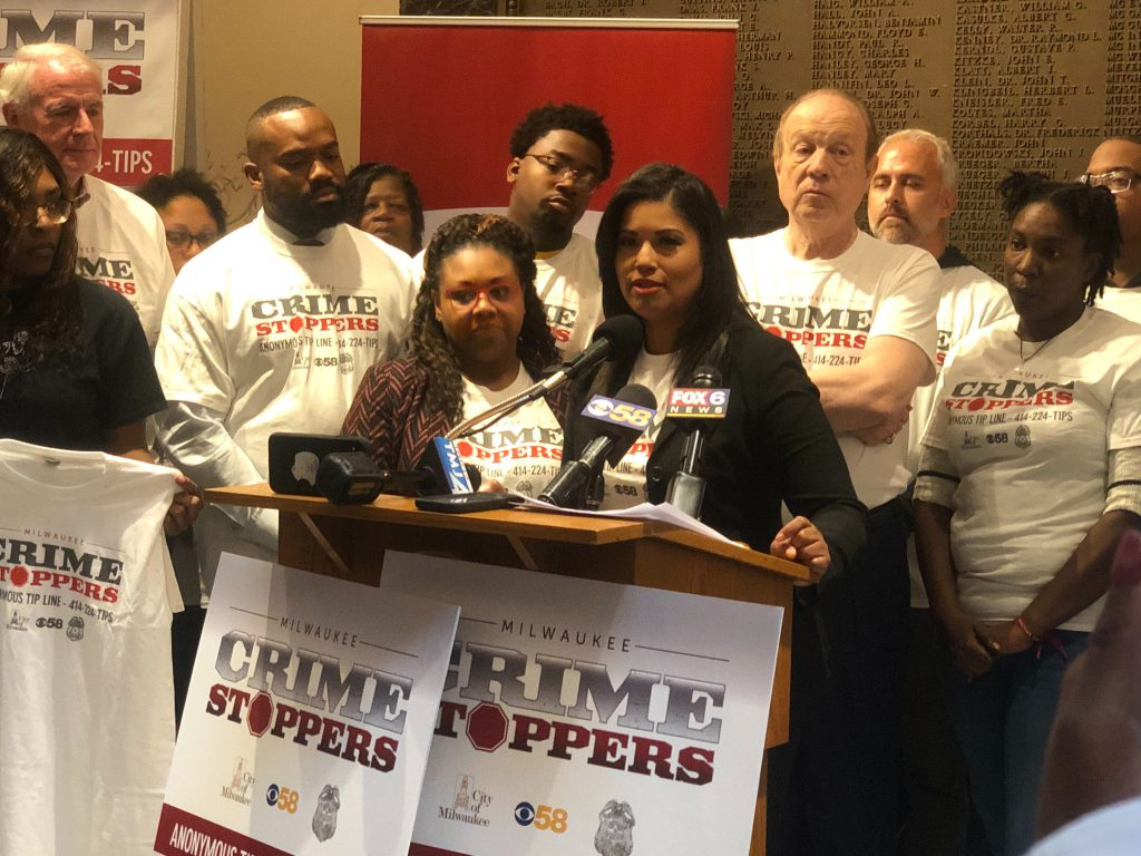 CBS58 anchor Amanda Porterfield speaks at Milwaukee Crime Stoppers press conference. Photo by Jeramey Jannene.