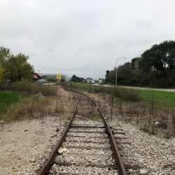 Railroad spur to be acquired by V. Marchese. Company facility in the background. Photo by Jeramey Jannene., October 2018