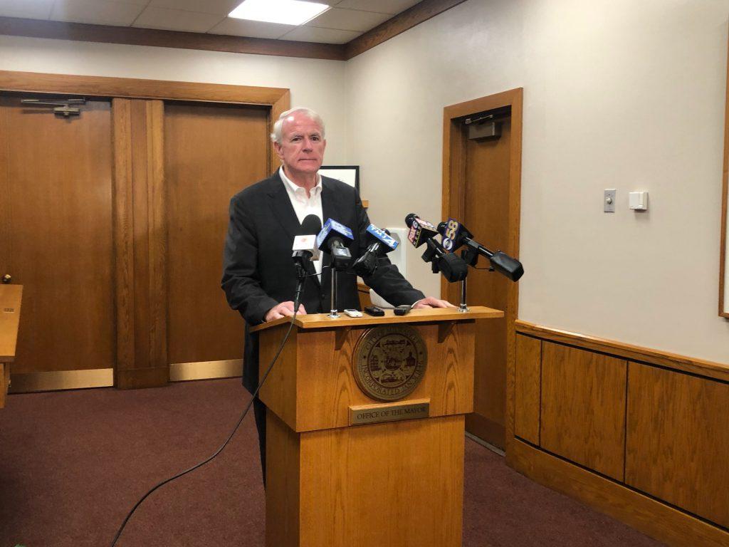 Mayor Barrett speaking about the Strauss deal. Photo by Jeramey Jannene.