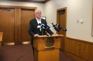 Mayor Barrett speaking about the Strauss deal. Photo by Jeramey Jannene.