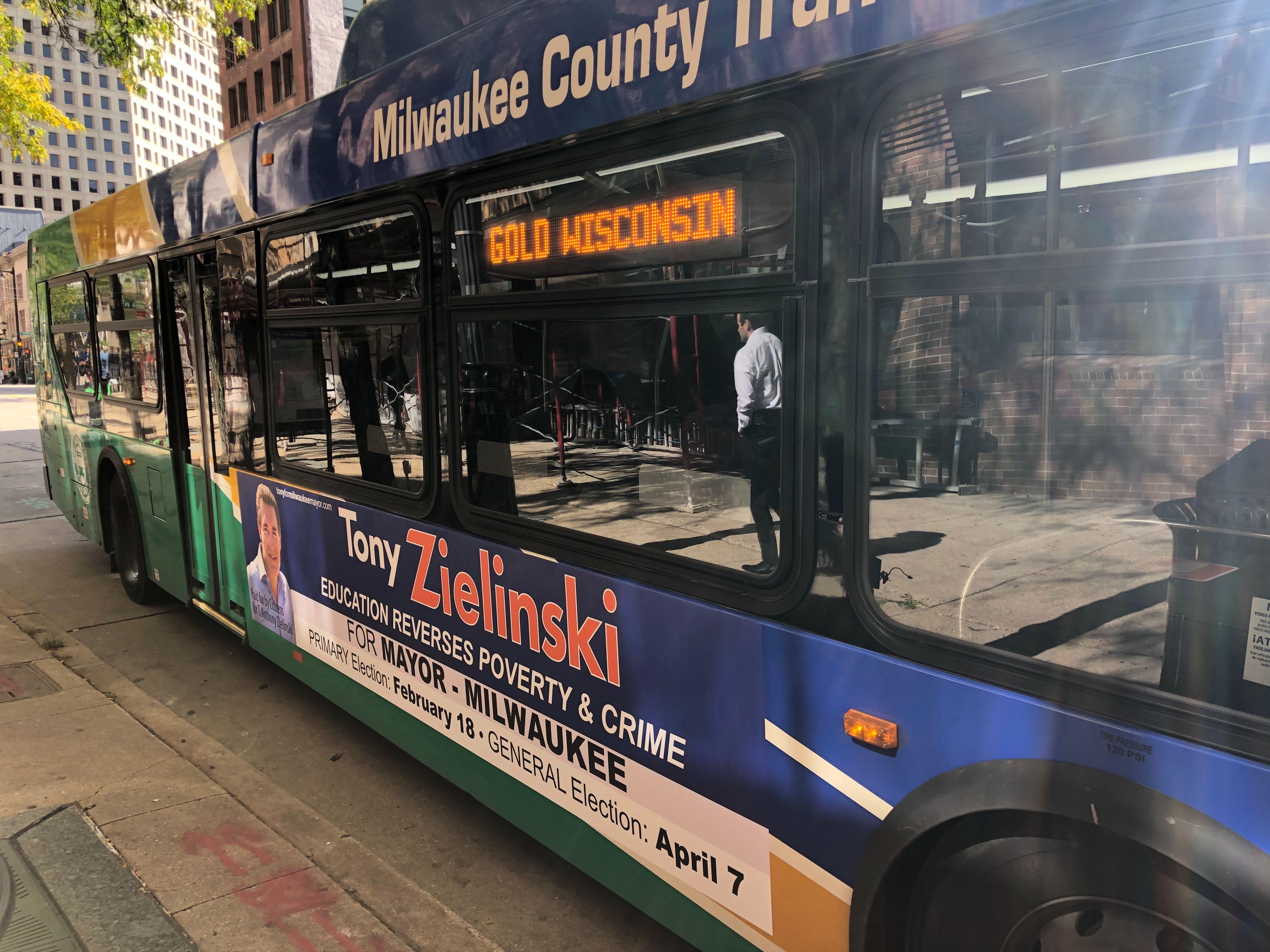 Tony Zielinski for Mayor bus ad. Photo by Jeramey Jannene.