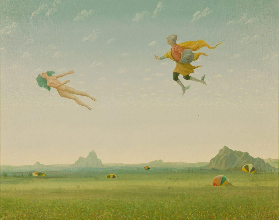 "John Wilde, Homage to Piero Di Cosimo, 1986, Oil on Canvas, 16 ½ x 20 ¼"" image. Photo courtesy of the Tory Folliard Gallery."