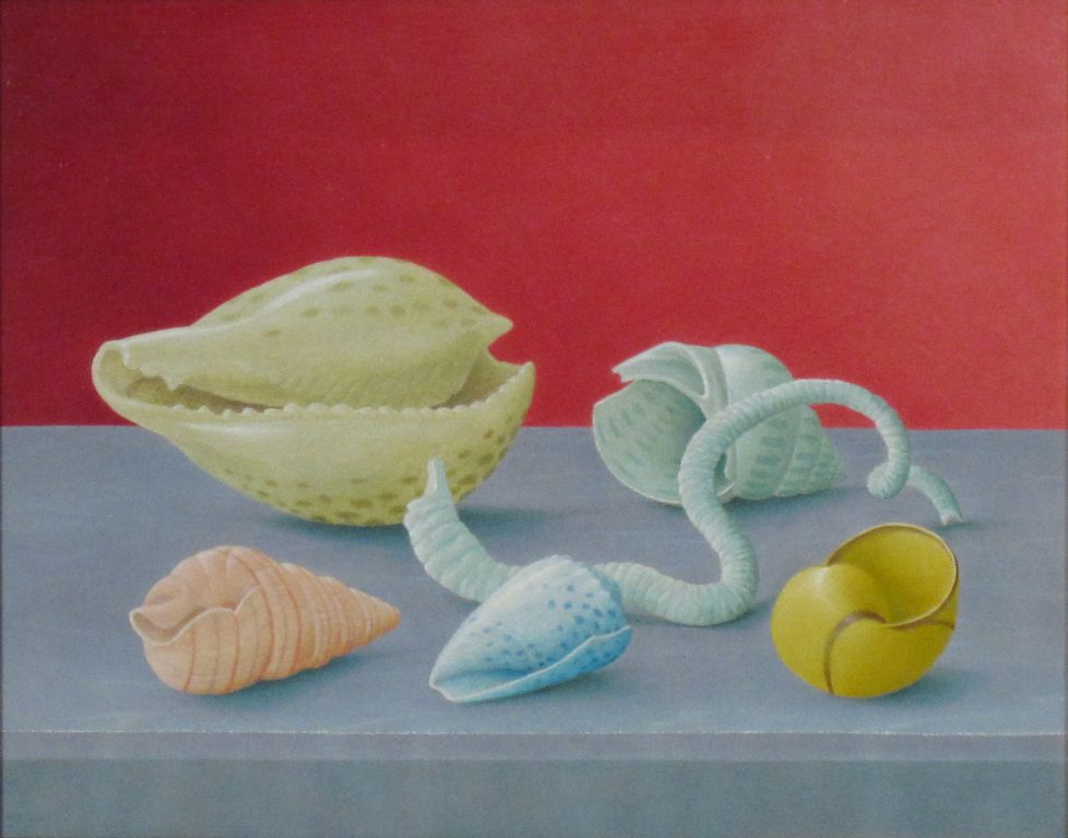 """John Wilde, Shell II (From the Sea), 1987, Oil on Panel, 7 ¾ x 9 ¾"""" image. Photo courtesy of the Tory Folliard Gallery."""