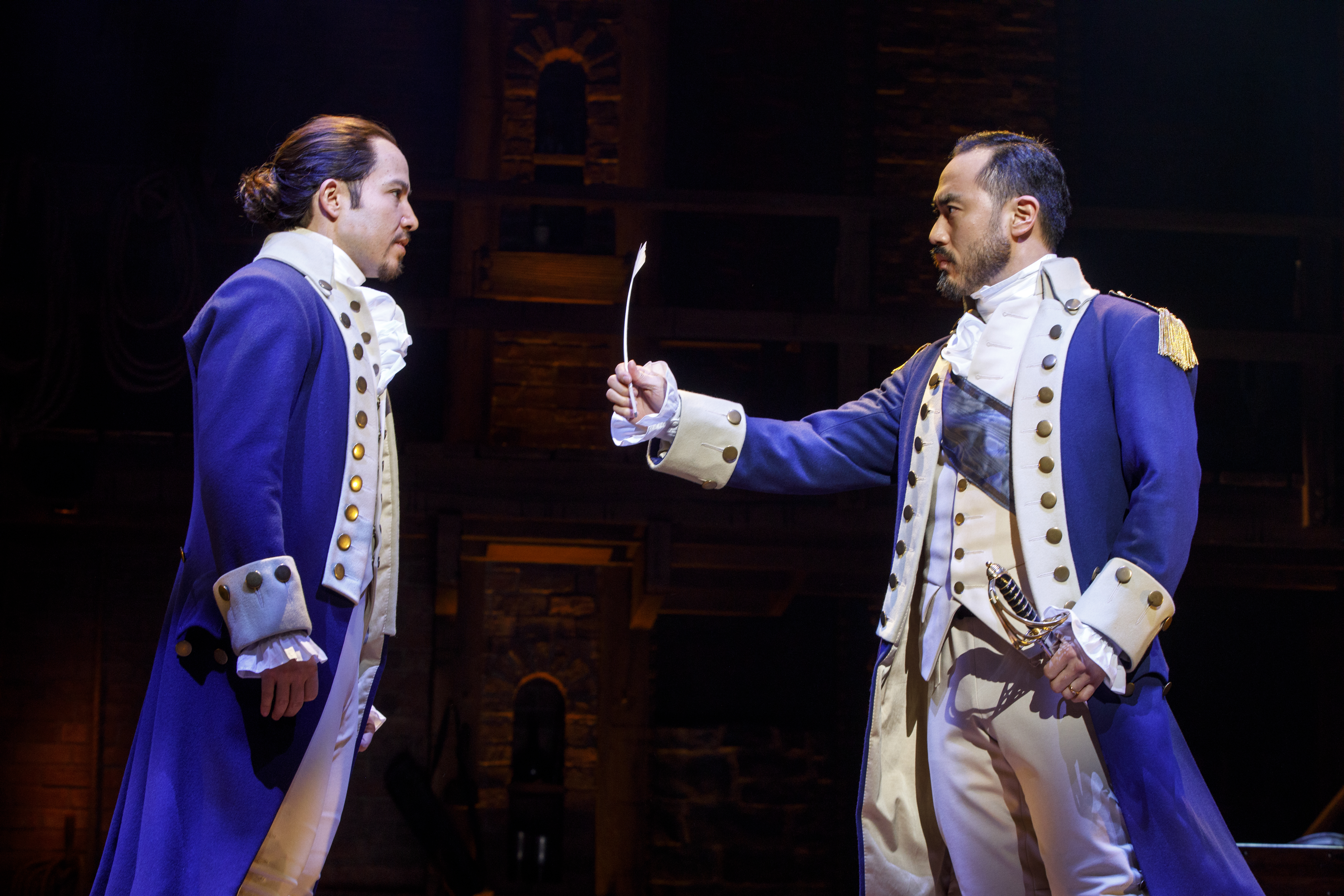 Joseph Morales and Marcus Choi. Hamilton National Tour. Photo by Joan Marcus.