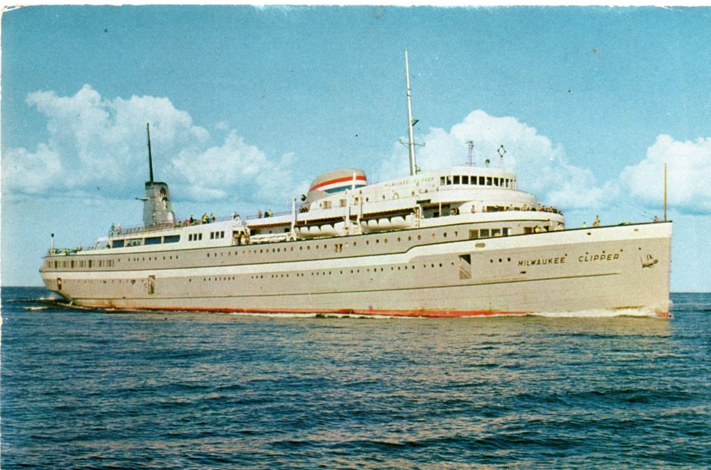 From 1941 to 1970, the Milwaukee Clipper linked Milwaukee and Muskegon, Michigan. The ship offered amenities including a live orchestra, a fine restaurant, and even a movie theatre. Carl Swanson collection