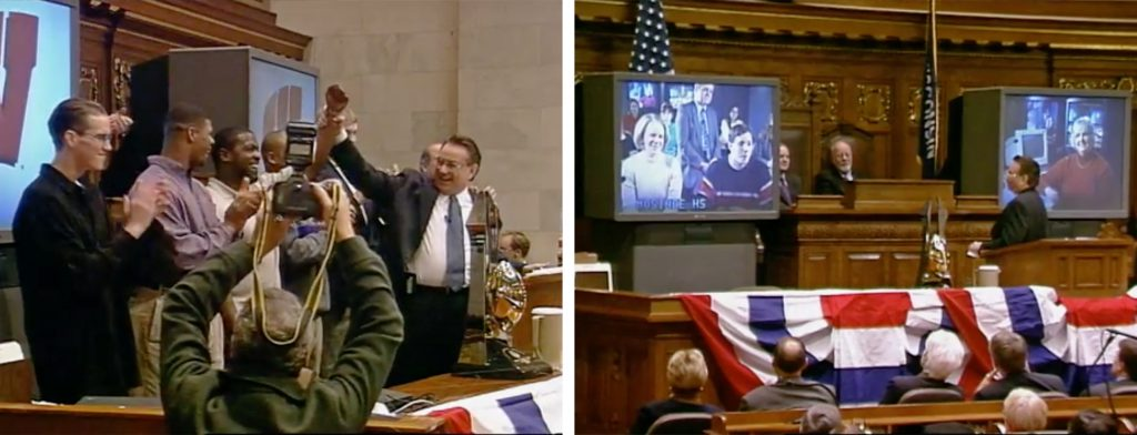 Former Gov. Tommy Thompson speaks at his 1999 State of the State address. Screenshots from Wisconsin Public Television