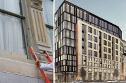 Huron Building brick and stone options (left), rendering (right). Images from Engberg Anderson Architects.