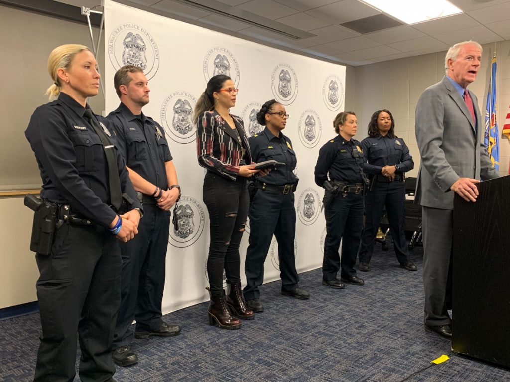 Milwaukee Mayor Tom Barrett and several Milwaukee police officers, stood during a press conference on Oct.10, 2019, to discuss the THC vaping operation discovered on Milwaukee's south side. Photo by Alana Watson/WPR.