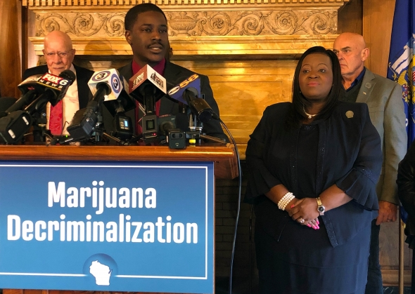 Rep. David Crowley, D-Milwaukee, speaks in favor of a proposal to decriminalize certain amounts of marijuana in Wisconsin at a Capitol press conference Wednesday, Oct. 30, 2019. Photo by Laurel White/WPR.