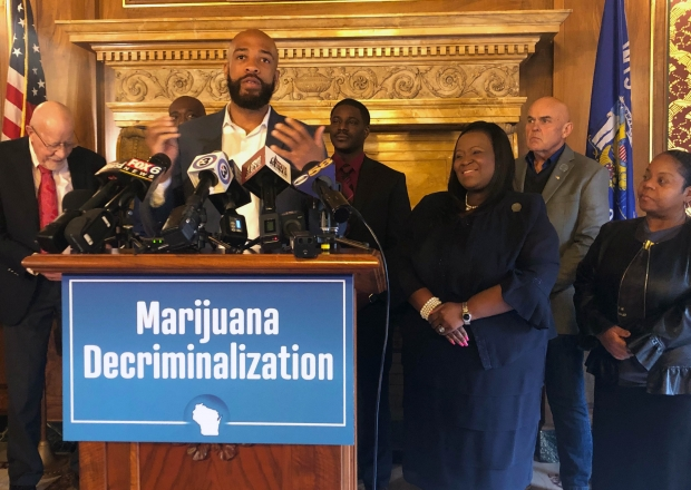 Lt. Gov. Mandela Barnes speaks in favor of a Democratic bill to decriminalize certain amounts of marijuana at a Capitol press conference Wednesday, Oct. 30, 2019. Photo by Laurel White/WPR.