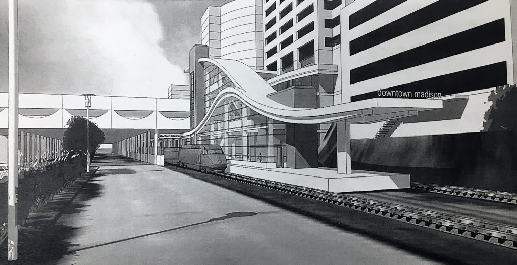 A mock-up of Madison's proposed high-speed rail station on John Nolen Drive. Rendering courtesy of the Wisconsin Department of Transportation.