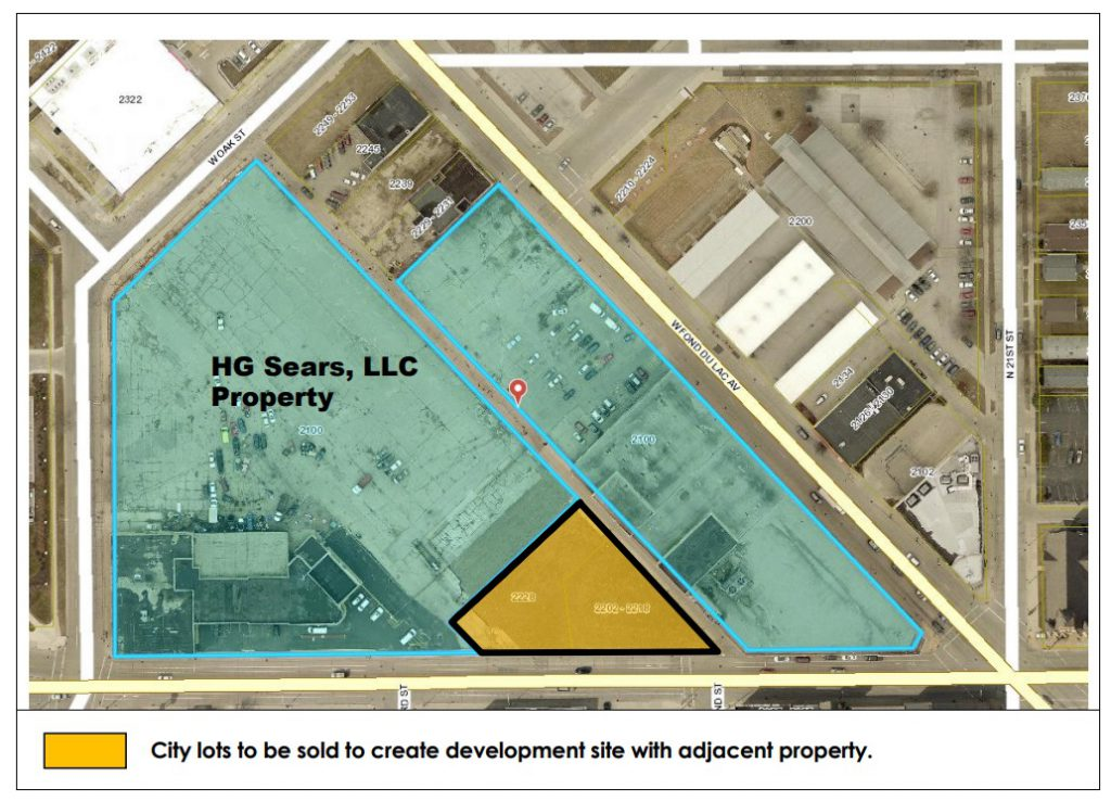 One MKE Plaza Land Sale (alley splits the site). Image from the City of MIlwaukee.