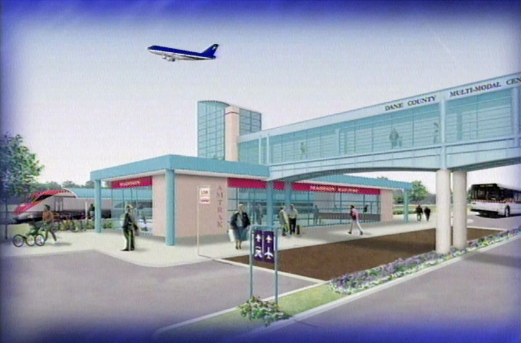 Artist's rendering of Madison's proposed train station from Gov. Tommy Thompson's 2000 State of the State Address. Screenshot from Wisconsin Public Television.