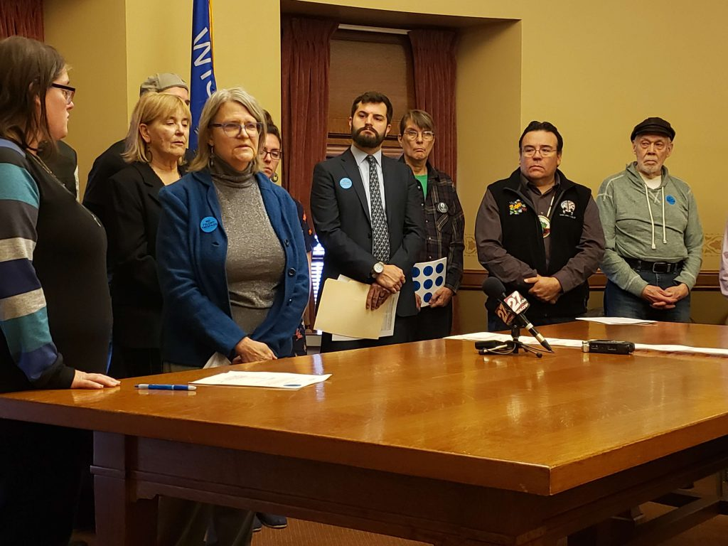 group of organizations oppsed to SB 386, which maked trespassing on pipeline and ther energy-related projects a felony, speak with media representatives before the Senate Judiciary and Public Safety committee hearing on the bill Tuesday. Photo by Erik Gunn/Wisconsin Examiner.