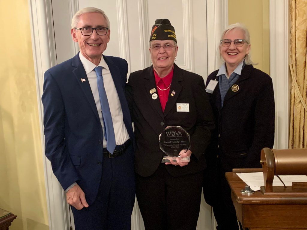 "Gov. Tony Evers Gundel ""Gundy"" Metz and WDVA Secretary Mary Kolar. Photo from the Wisconsin Department of Veterans Affairs."