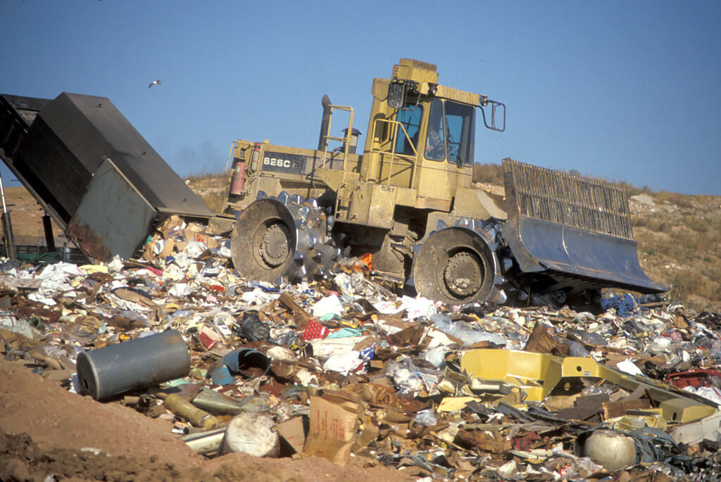 Bulldozer spreads garbage at a landfill. Photo from the Wisconsin Department of Natural Resources.
