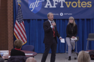 Tom Steyer and Lisa Conley. Image from AFT's Facebook Live.