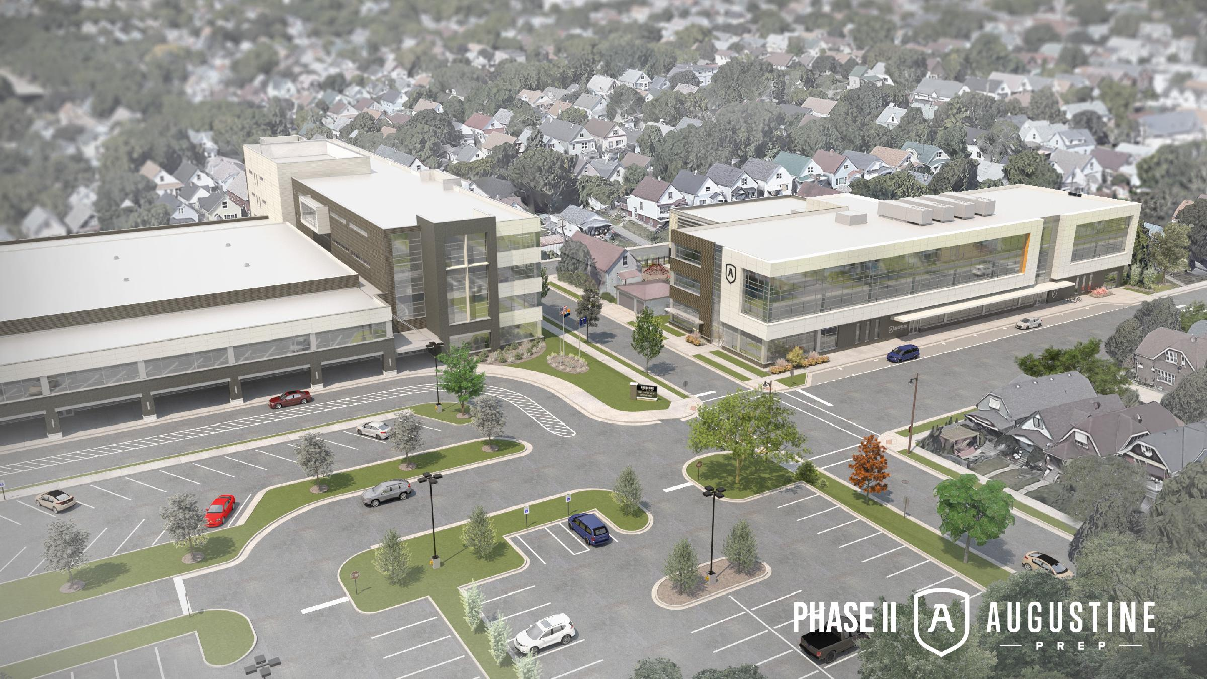 St. Augustine Prep's second phase (right). Rendering by Korb + Associates Architects.
