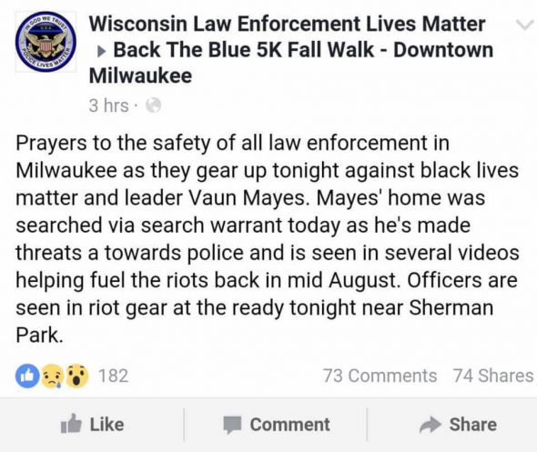 A post from the Facebook group Wisconsin Law Enforcement Lives Matter commenting on the raid on Mayes' home. Mayes monitored Facebook groups which posted hateful or racist comments and reported them. Photo cataloged by Vaun Mayes on Facebook.