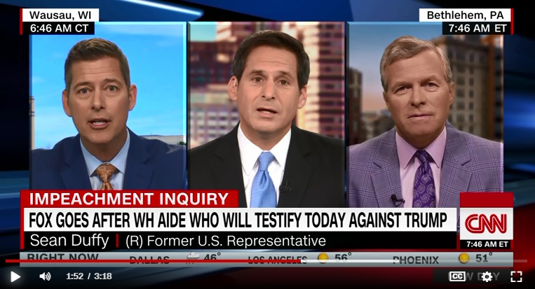 Sean Duffy (left) on CNN Tuesday morning. John Berman (center), co-host of the CNN program New Day, questioned Duffy's remarks. (Via CNN.com)