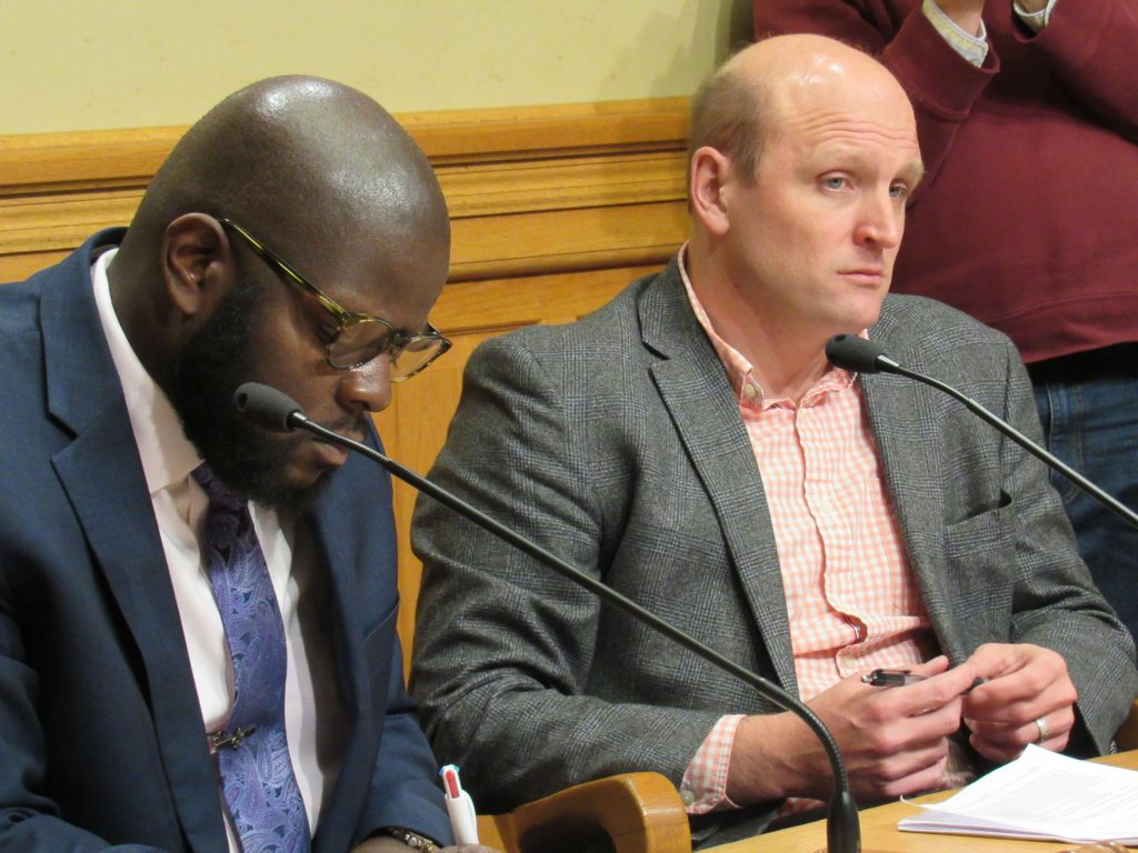 Supervisor Supreme Moore Omokunde and Alder Nik Kovac. Photo by Isiah Holmes/Wisconsin Examiner.