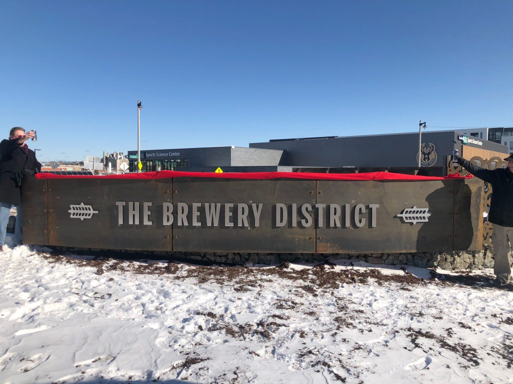 Gateway Sculpture at The Brewery. Photo by Jeramey Jannene.