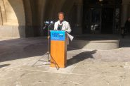 Senator Lena Taylor speaking outside Milwaukee City Hall. Photo by Jeramey Jannene.