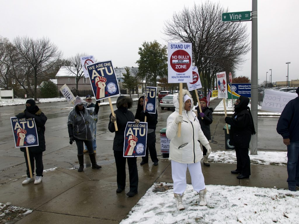 A handful of transit workers and supporters picketed outside MCTS headquarters. Photo by Graham Kilmer.