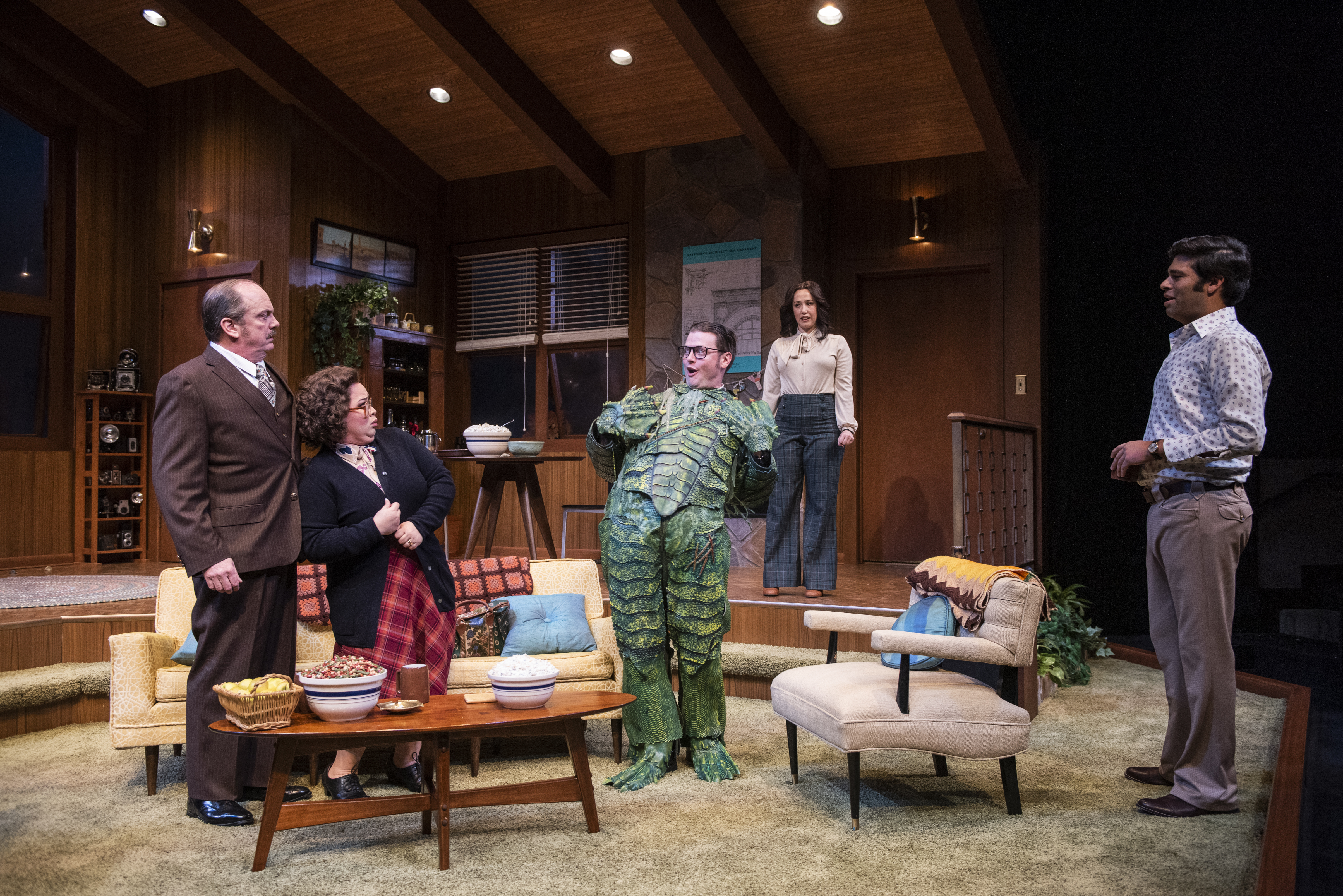 Milwaukee Repertory Theater presents The Nerd in the Quadracci Powerhouse November 12 – December 15, 2019. Left to right: Chris Mixon, Lillian Castillo, Michael Doherty, Alex Keiper and Andy Nagraj. Photo by Michael Brosilow.