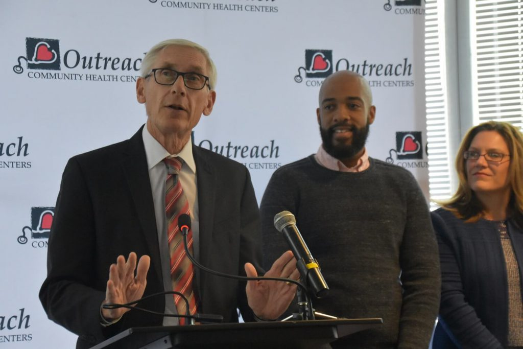 Gov. Tony Evers and Lt. Gov. Mandela Barnes make a pitch to get Wisconsinites signed up for healthcare in Milwaukee. Photo by Melanie Conklin/Wisconsin Examiner.