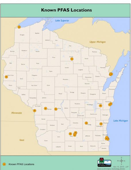 This graphic, supplied by the Wisconsin DNR, shows identified locations of PFAS concentrations around the state as of November 2015. Image courtesy of Wisconsin DNR.