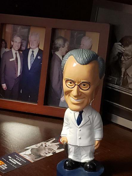 David Riemer's office is decorated with this bobblehead of FDR. Photo by Erik Gunn/Wisconsin Examiner.