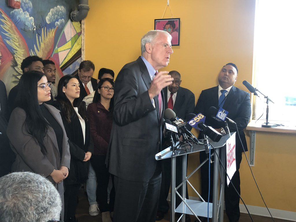 Mayor Tom Barrett announces his re-election bid in November. Photo by Jeramey Jannene.