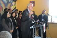 Mayor Tom Barrett announces his re-election bid. Photo by Jeramey Jannene.