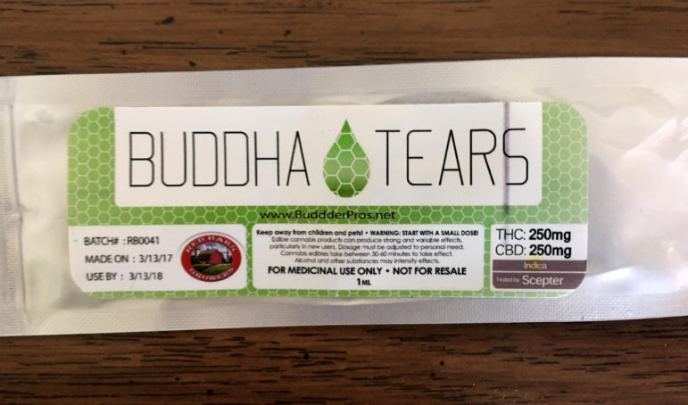 Wisconsin resident Patty was sent Buddha Tears, a medication containing a highly concentrated form of THC, the psychotropic component of cannabis, and CBD derived from cannabis by her friend who lives in New Mexico. Patty uses the cannabis products to treat debilitating symptoms from Crohn's disease. Patty asked that her last name not be used because she is using a substance that is illegal in Wisconsin. Photo courtesy of the subject.