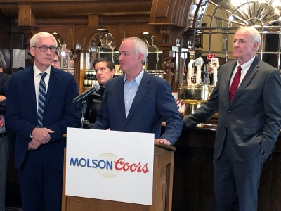 Gov. Tony Evers, MolsonCoors CEO Gavin Hattersley and Milwaukee Mayor Tom Barrett at a press conference Monday, Nov. 25, 2019 at Miller Brewing Company headquarters in Milwaukee. Corrinne Hess/WPR