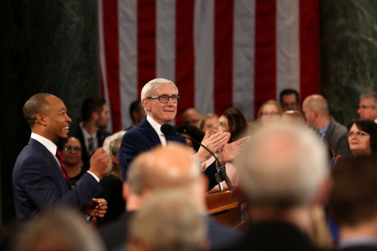 Gov. Tony Evers proposed in his budget legalizing medical marijuana and decriminalizing the possession, sale or manufacture of 25 grams or less of marijuana, measures that were removed by the Republican-run Legislature. A bipartisan bill proposal to legalize medical marijuana is now before lawmakers. Evers is seen here during his inauguration ceremony at the Wisconsin State Capitol on Jan. 7. Photo by Emily Hamer/Wisconsin Watch.