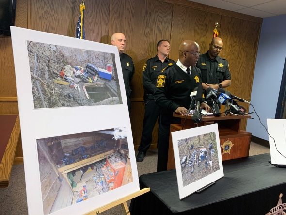 Milwaukee County Sheriff Earnell Lucas, center, speaks at a press conference Friday, Nov. 22, 2019 at the Milwaukee County Sheriff's Office about a bunker discovered along the Milwaukee River in Milwaukee, Wis. Photo by Alana Watson/WPR.