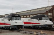 The Talgo trains orginally designed and built for Wisconsin sit at an Amtrak facility in Beech Grove, Ind. Photo by Shawn Johnson/WPR.