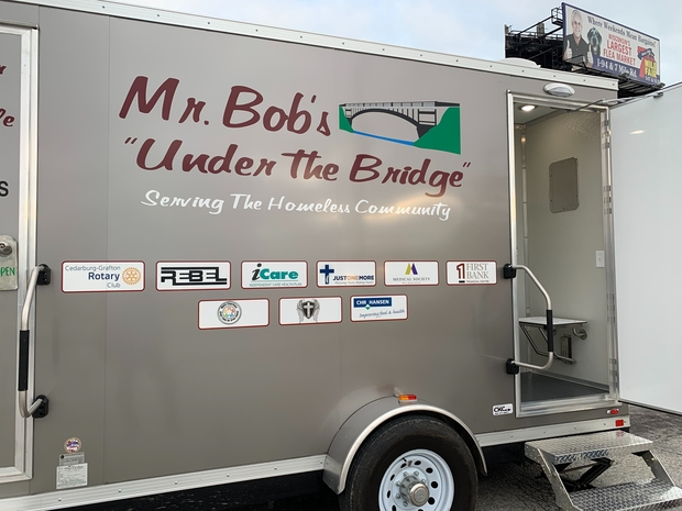 """Mr. Bob's """"Under the Bridge"""" mobile shower trailer has been providing residents with a warm place to shower for the past three months. Mr. Bob comes out to Milwaukee's homeless encampment every Thursday. This photo was taken on Oct. 24, 2019 by Alana Watson/WPR."""