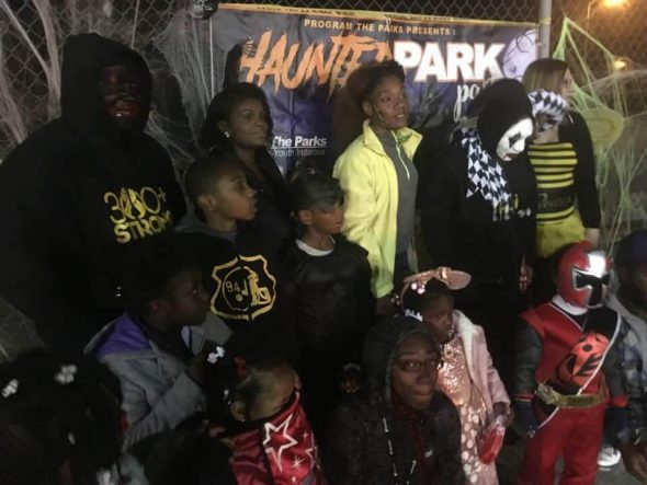 Mayes and locals during PTP's Haunted Park Party event. Photo from Vaun Mayes.