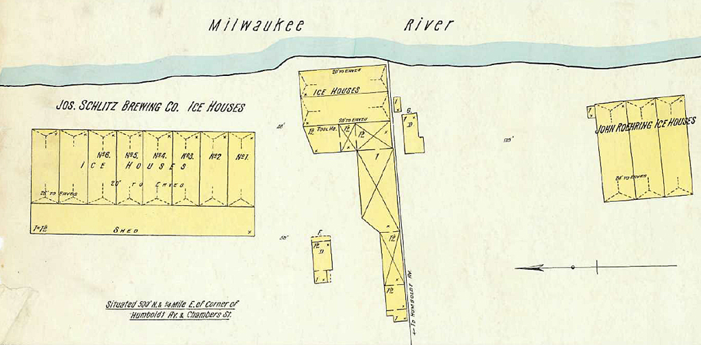 The group of Riverwest icehouses, located on the river at the foot of East Chambers Street, include the Schlitz complex, center and left, and a commercial ice dealer to the right. The municipal pumping station, located between the two sites, had not yet been built when this fire insurance diagram was drawn in 1894.