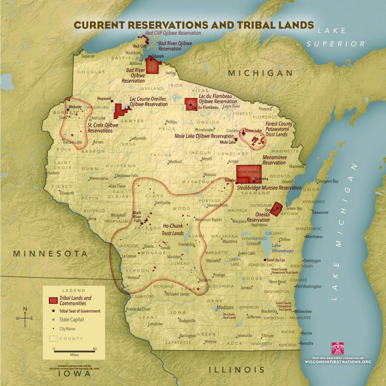 Wisconsin is home to 11 federally-recognized tribes and one tribal nation without federal recognition. Image from Wisconsin First Nations.
